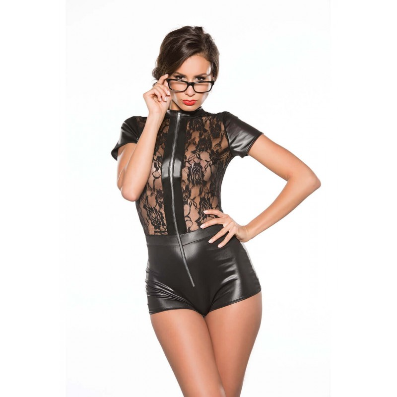 Lace & Wet Look Jumper Black Os
